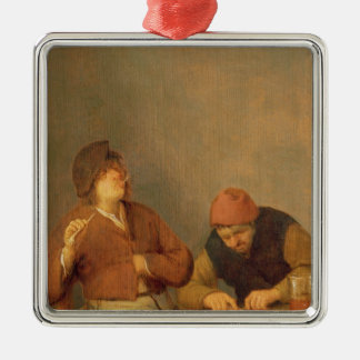 Two Smokers in an Interior, 1643 Christmas Ornament