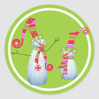 Two Snowmen and a Lime Green Circle Classic Round Sticker
