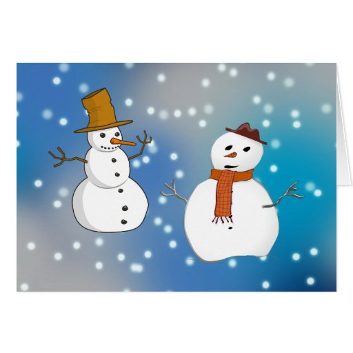Two Snowmen Greeting Cards