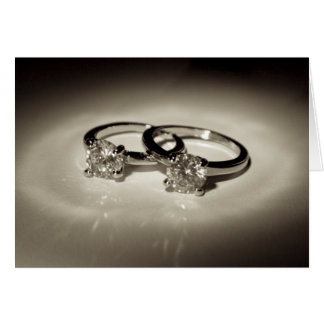 Two Solitaire Rings Greeting Card