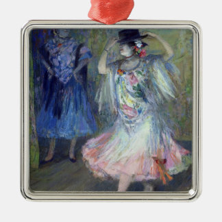 Two Spanish Dancers, 1852 Silver-Colored Square Decoration