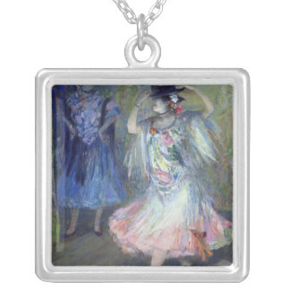 Two Spanish Dancers, 1852 Silver Plated Necklace