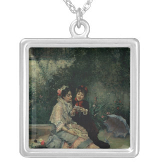 Two Spanish Women Silver Plated Necklace