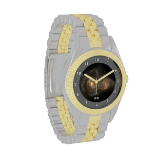 Two Spiral Galaxies Collide Two Tone Personal Wristwatches