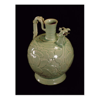 Two spouted jug with a leaf design postcard