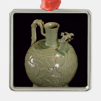 Two spouted jug with a leaf design Silver-Colored square decoration