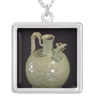 Two spouted jug with a leaf design silver plated necklace