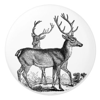 Two Stags Deers black and white vintage art Ceramic Knob