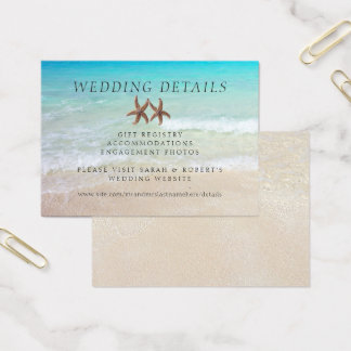 Two Starfish Beach Wedding Details 100 Cards