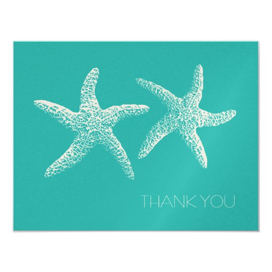 Two Starfish, Blue Lagoon Monogrammed Thank You Card