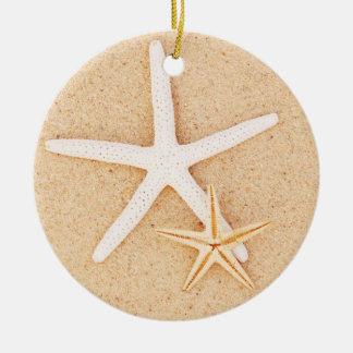 Two Starfish on a Beach Round Ceramic Decoration