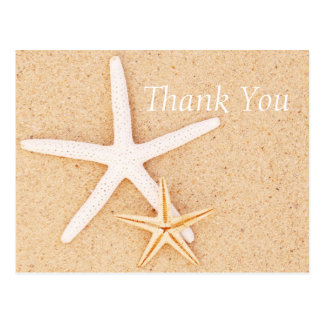 Two Starfish on a Beach Thank You Postcard