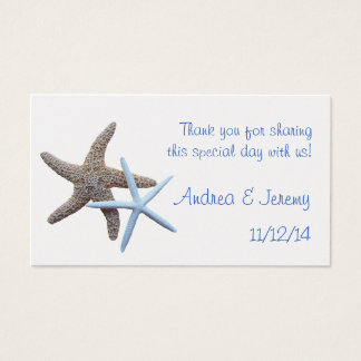 Two Starfish Wedding Reception Favor Tags Business Card