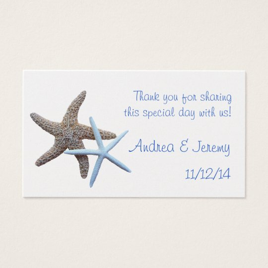 Two Starfish Wedding Reception Favour Tags