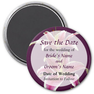 Two Stargazer Lilies Save the Date 7.5 Cm Round Magnet
