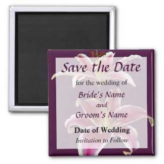 Two Stargazer Lilies Save the Date Square Magnet