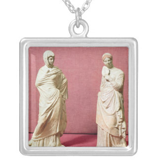 Two statues of standing women from Tanagra Silver Plated Necklace