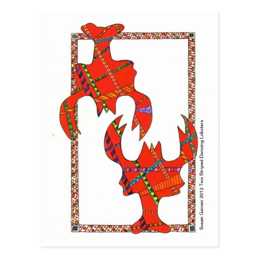 Two Striped Dancing Lobsters Postcard