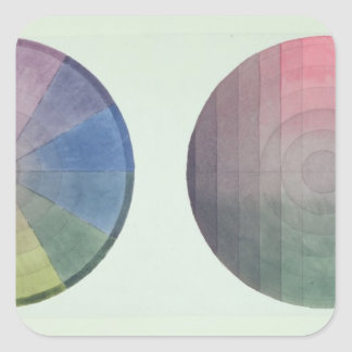Two studies of cross and longitudinal section square sticker