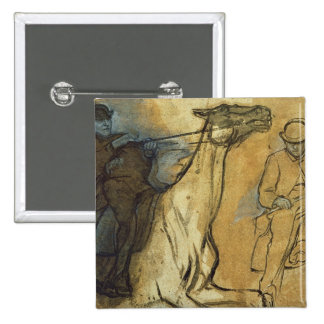 Two studies of riders (pen & ink, oil and gouache 15 cm square badge