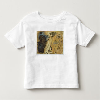 Two studies of riders (pen & ink, oil and gouache tee shirt