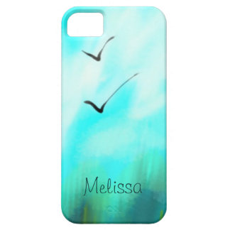Two Summer Birds Flying Blue Watercolor Your Name iPhone 5 Cases