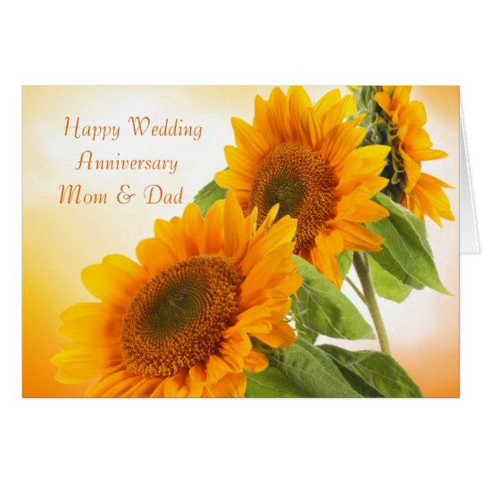 Two sunflowers Wedding Anniversary Mum & Dad Card