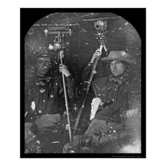 Two Surveyors Daguerreotype 1850 Poster