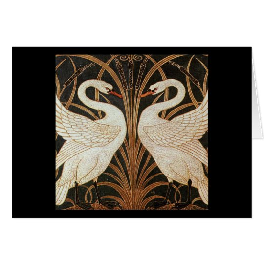 Two Swans by Walter Crane vintage illustration Card