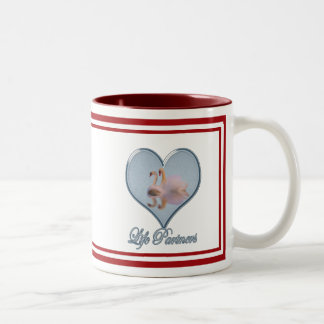 """Two Swans (with Blue """"Life Partners"""" Text) Two-Tone Mug"""