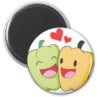 Two Sweet Bell Pepper Lovers 6 Cm Round Magnet