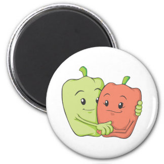 Two Sweet Bell Pepper Lovers Hugging 6 Cm Round Magnet