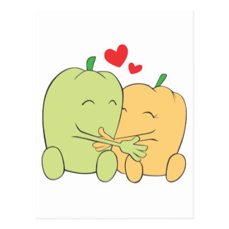 Two Sweet Bell Pepper Lovers Hugging Post Card