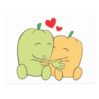 Two Sweet Bell Pepper Lovers Hugging Postcard