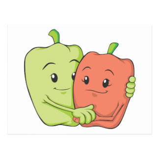 Two Sweet Bell Pepper Lovers Hugging Postcards