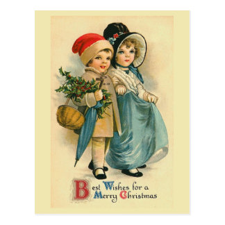 """Two Sweet Children"" Vintage Christmas Postcard"