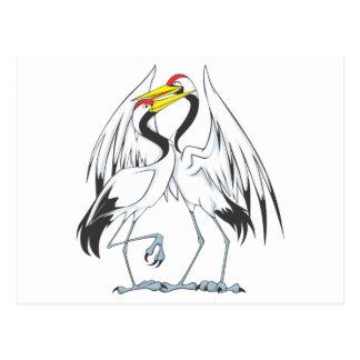 Two Sweet Crane Bird Lovers Post Card