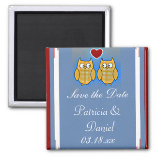 Two Sweet Owls Wedding Square Magnet