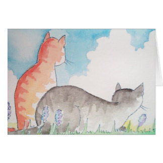 Two Tabby Cats Card ~ Blank