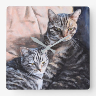 Two Tabby Cats Fine Art Wall Clock