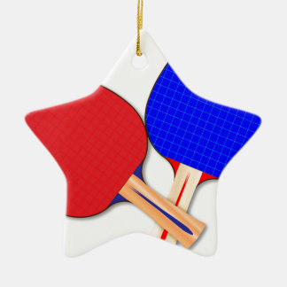 Two Table Tennis Bats Ceramic Star Decoration