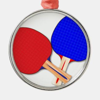 Two Table Tennis Bats Silver-Colored Round Decoration