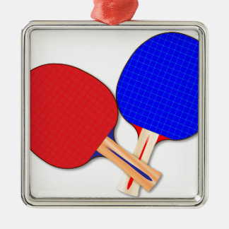 Two Table Tennis Bats Silver-Colored Square Decoration