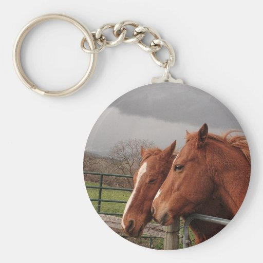 Two Tan Coloured Horses Basic Round Button Key Ring