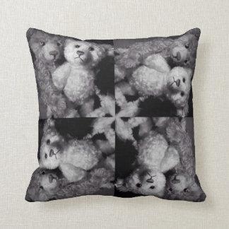 Two Teddy 4 mosaic monochrome collage cushion