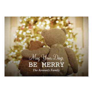 Two teddy bear friends enjoying each others card