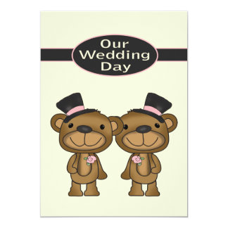 Two Teddy Bear Grooms Wedding Card