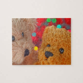 Two teddy bears with Christmas lights Jigsaw Puzzle