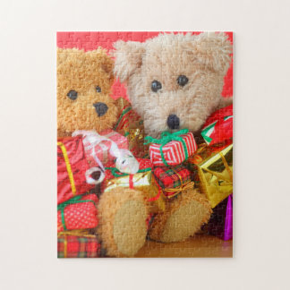 Two teddy bears with Christmas presents Jigsaw Puzzle