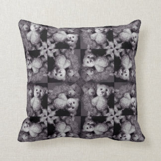 Two Teddy mosaic monochrome collage cushion